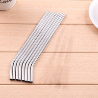 100/Batch Metal Straws Can Be Reused 304 Stainless Steel Drinking Water Pipes 215 Mm x 6 Mm Curved Straws 100Pcs|Disposable Cookware| |  -