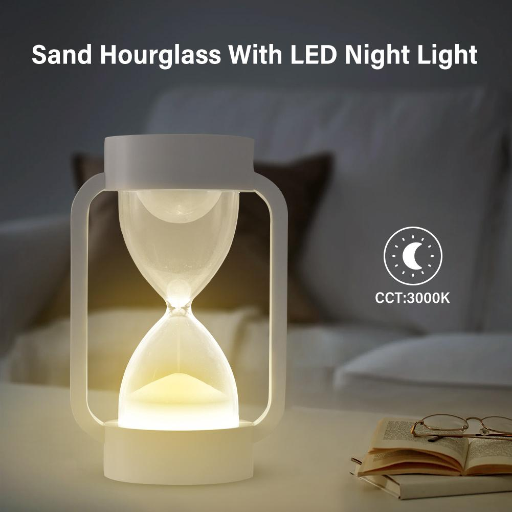 Creative LED Induction Hourglass Sleep Light Timers Sand Clock Lamp For Bedroom Living Room Home Decoration Night Light