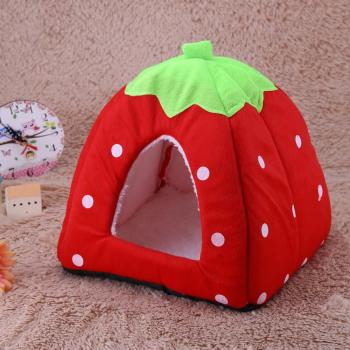 Cute Soft Strawberry Pet Cat Dog Indoor Warm Small House Kennel Doggy Nest Cave Sleeping Mats Winter Pet Products image
