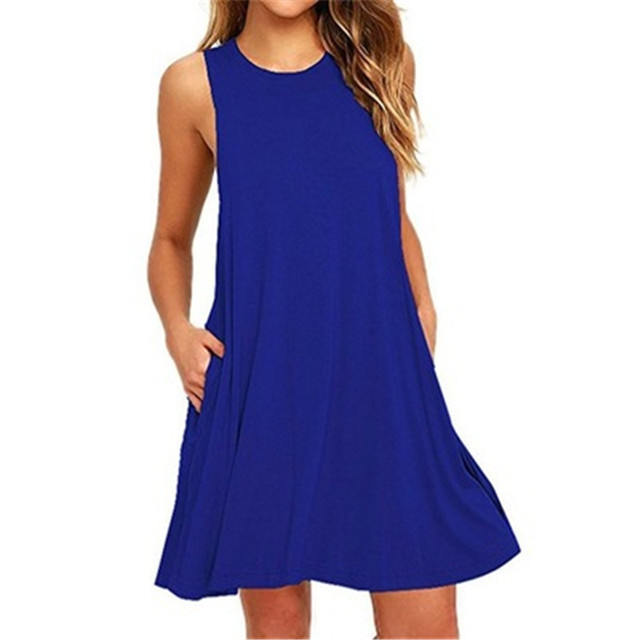Summer Cotton Dress Women Sleeveless Beach Black Dress Casual  Pocket Loose Dress Female Plus Size Dress Fashion Clothing 5