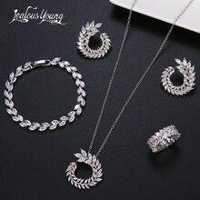 Collier CZ en forme de feuille, 4 pièces, collier boucle doreille, Bracelet et bagues de marque en zircone argent, ensembles de bijoux pour femmes, accessoires