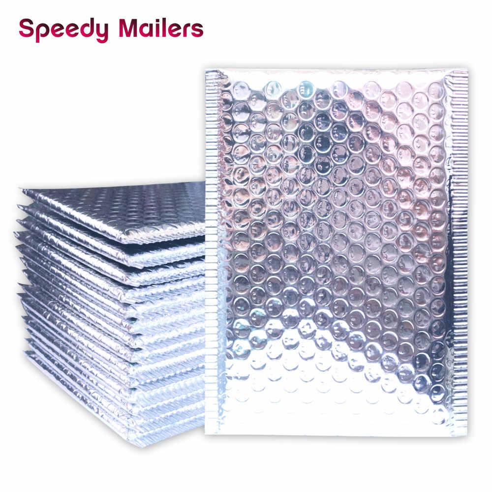 Altın/gül altın/lazer gümüş/koyu kırmızı/mor/gül kırmızı alüminyum folyo baloncuklu zarf CD/kirpik ambalaj nakliye yastıklı zarflar