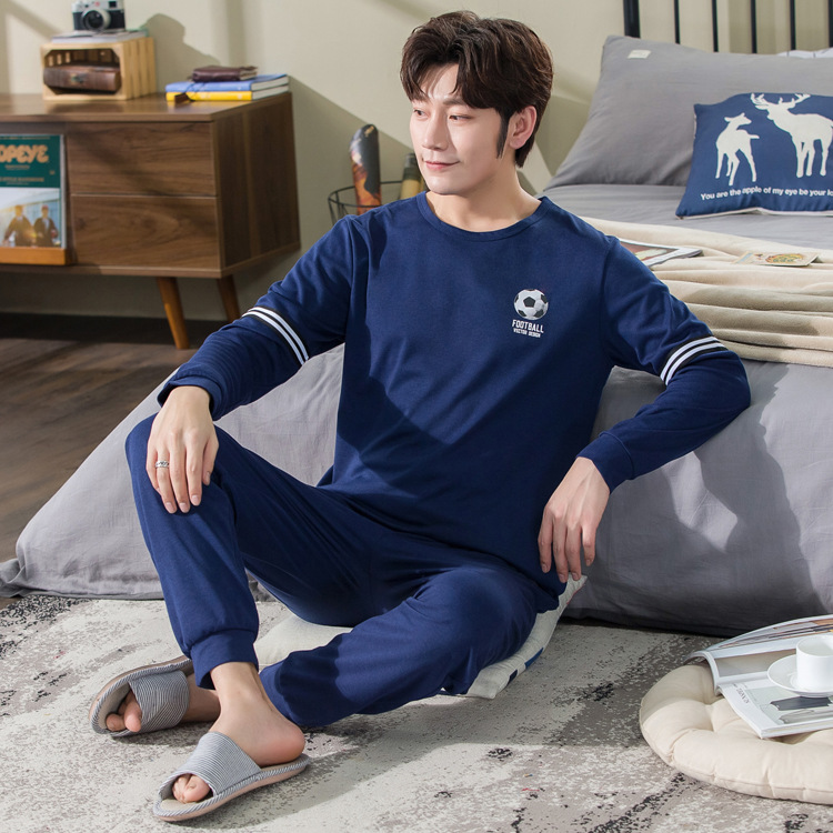 Men Long Sleeve Pajamas Spring And Autumn Winter Style Men's Teenager Students Casual Cotton Homewear Set 8805