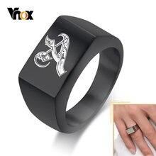 Vnox-anillo de acero inoxidable con grabado para hombre, anillo de acero inoxidable con Imagen láser gratis, banda Punk, anillos Hermanos, regalo personalizado