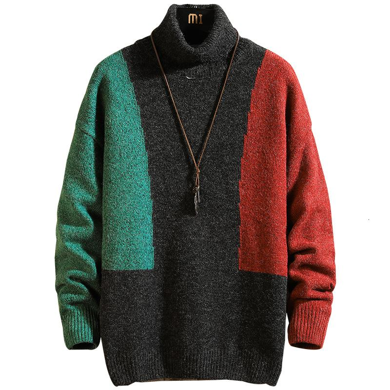 New Winter Fashion Trend Slim Casual College Style Turtleneck Collared Color Contrast Men's Sweater Clothes Hombre