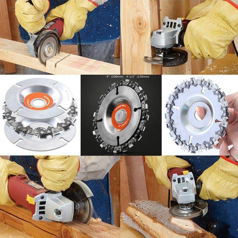 4 Inch Grinder Chain Disc Wood Carving 22 Tooth For 100-115mm Angle Grinder Tool  For 4