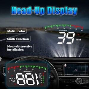 """Image 3 - OBDHUD A300 OBDII ראש למעלה תצוגה 9 V 16 V קמ""""ש KM/H דלק מהירות אזהרת מערכת שמשה קדמית מקרן רכב Accesorie משלוח חינם"""