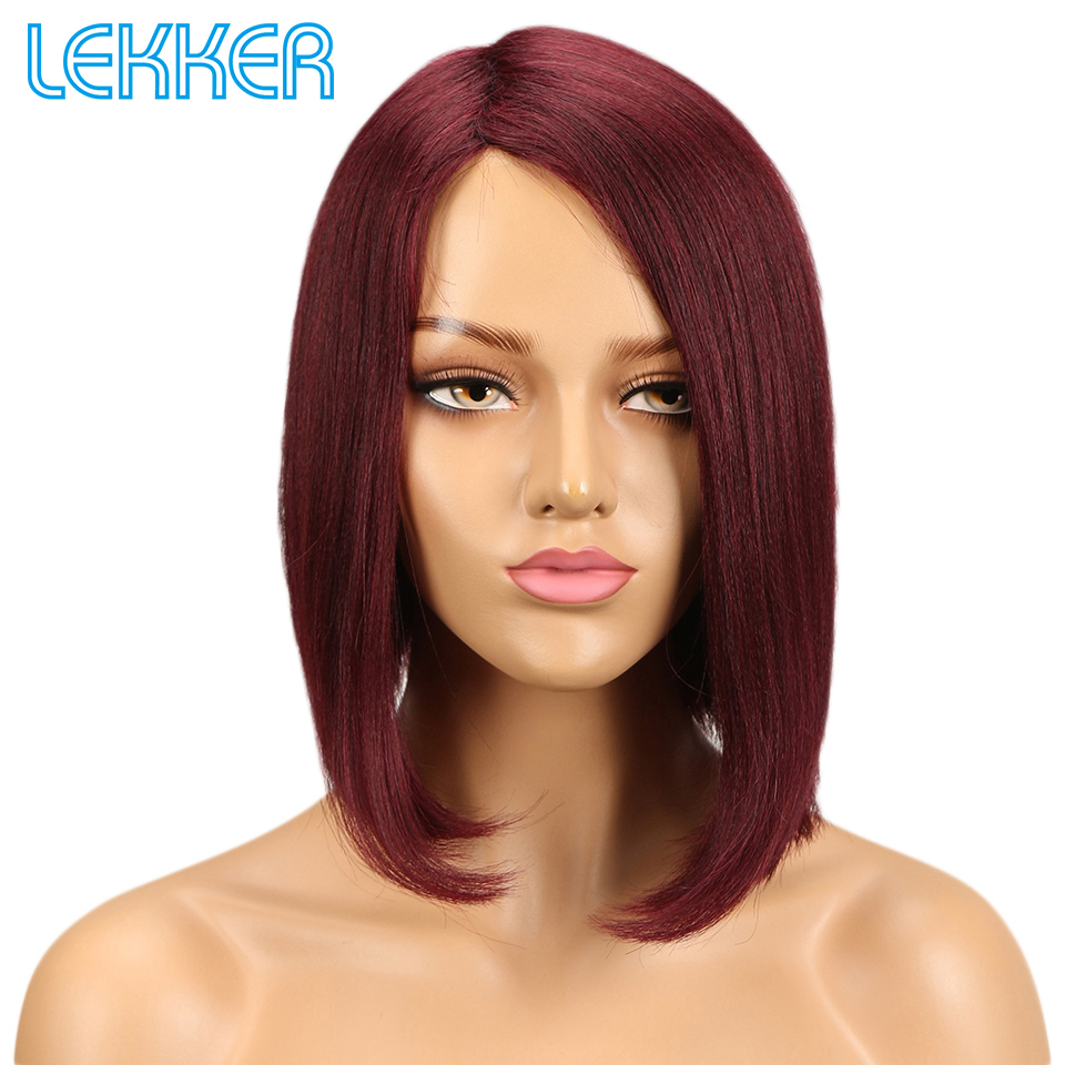 Lekker Hair Wigs Human Hair Short Straight Wigs For Black White Women Remy Human Hair Wig Brazilian Machine Made Ten Colors Deal