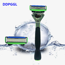 DDPGGL 1 Holder 2pcs Blades Men 6 Layer Shaver Razor Blade for Men Replaceable Blade For Personal Care Mingshi High Quality