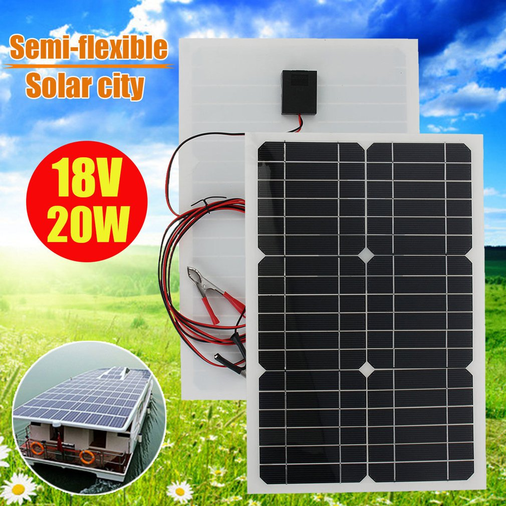 18V 20w solar panel kit Transparent semi-flexible Monocrystalline solar cell DIY module outdoor connector DC 12v charger image