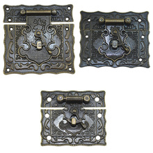 Multipurpose Antique Brass Wooden Case hasp Vintage Style Decor Jewelry Box Suitcase Hasp Latch Hook Furniture Buckle Clasp Lock in stock antique box buckle suitcase lock hasp antique wooden trunk metal buckle