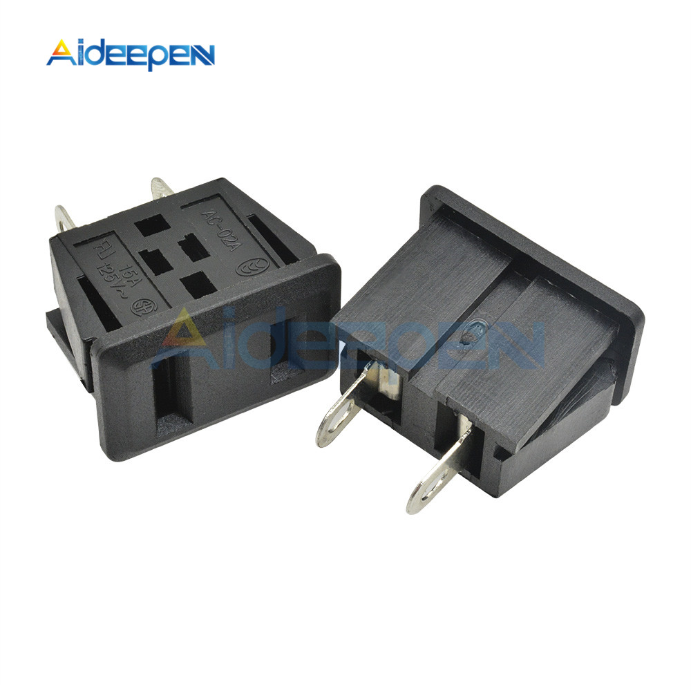 5PCS/Lot AC-02A AC 125V 15A US Plug Panel Mount US Outlet Power Socket 2 Terminal Adapter Snap Type Iron Core