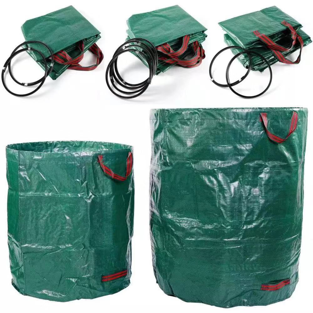 300L/120L/60L Green Large Capacity Heavy Duty Garden Waste Bag Durable Reusable Waterproof PP Yard Leaf Grass Container Storage