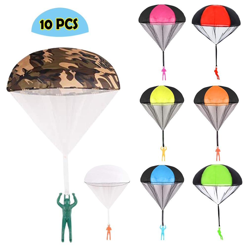 Nouveau 10 pièces/lot main aléatoire lancer Mini soldat Parachute jeu de plein air jouer éducatif mouche Parachute Sport pour les enfants