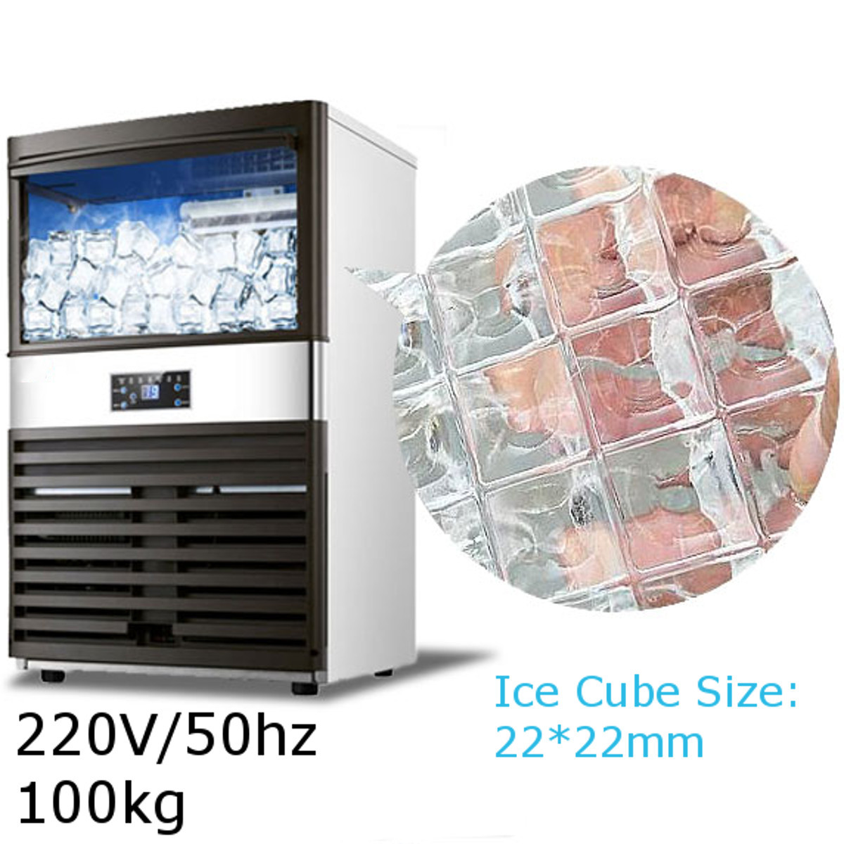 100kg Ice Makers Commercial Automatic Ice Cube Making Machine For Bar Coffee Shop Milk Tea Room 220V/50hz