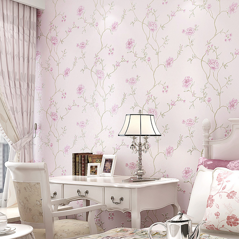 3D Non-woven Wallpaper Living Room Bedroom Stores Nail Salons Flower Shop Clothing Store Self-Adhesive Wallpaper