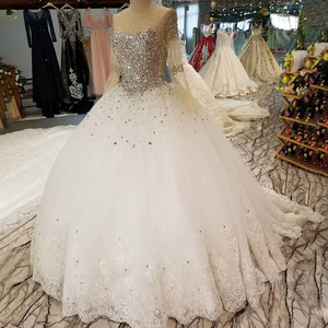 Image 3 - LSS029 свадебные платья с блесткамитяжелое кристаллическое красивейшее платье венчания быстро грузя о шею длиннюю втулку зашнуруйте вверх назад дешевое просто платье 2018 от фарфора