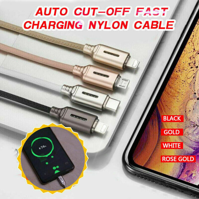 Auto Cut-off Fast Charging Nylon Cable  3