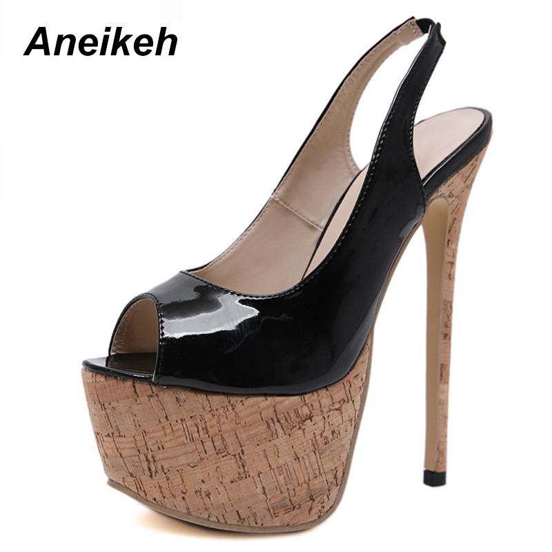 Aneikeh 2020 Spring Sexy High Heel Platforms Pumps Shoes Woman PU Leather Fetish Peep Toe Slingbacks Stripper Wedding Party Shoe