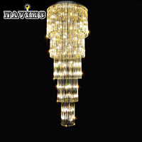 Crystal Glass Chandelier Fixture Large Glass Luster Lamp for Staircase Stairs Hotel and Project