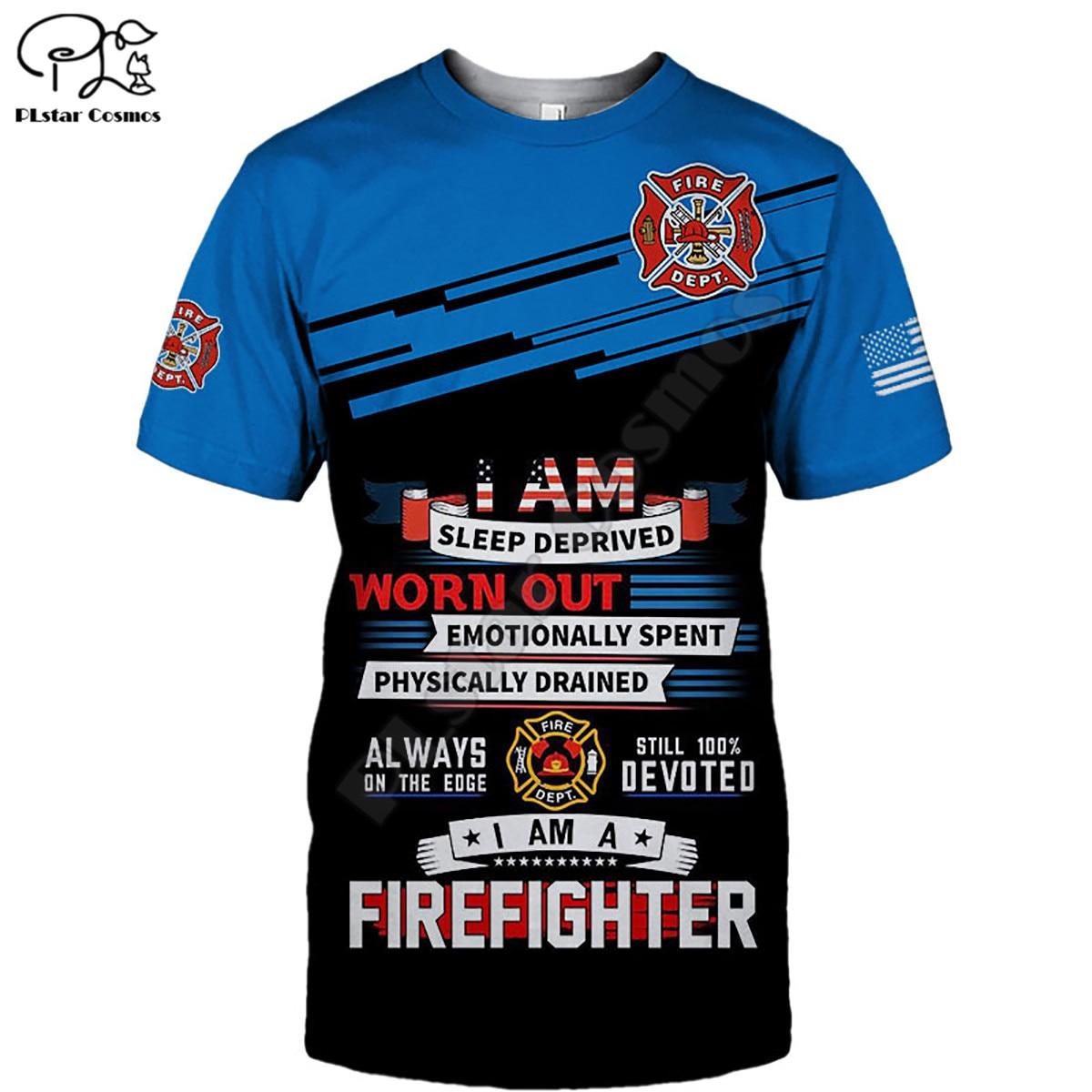 Купить frefighter t shirt summer printed men for women shirts tops