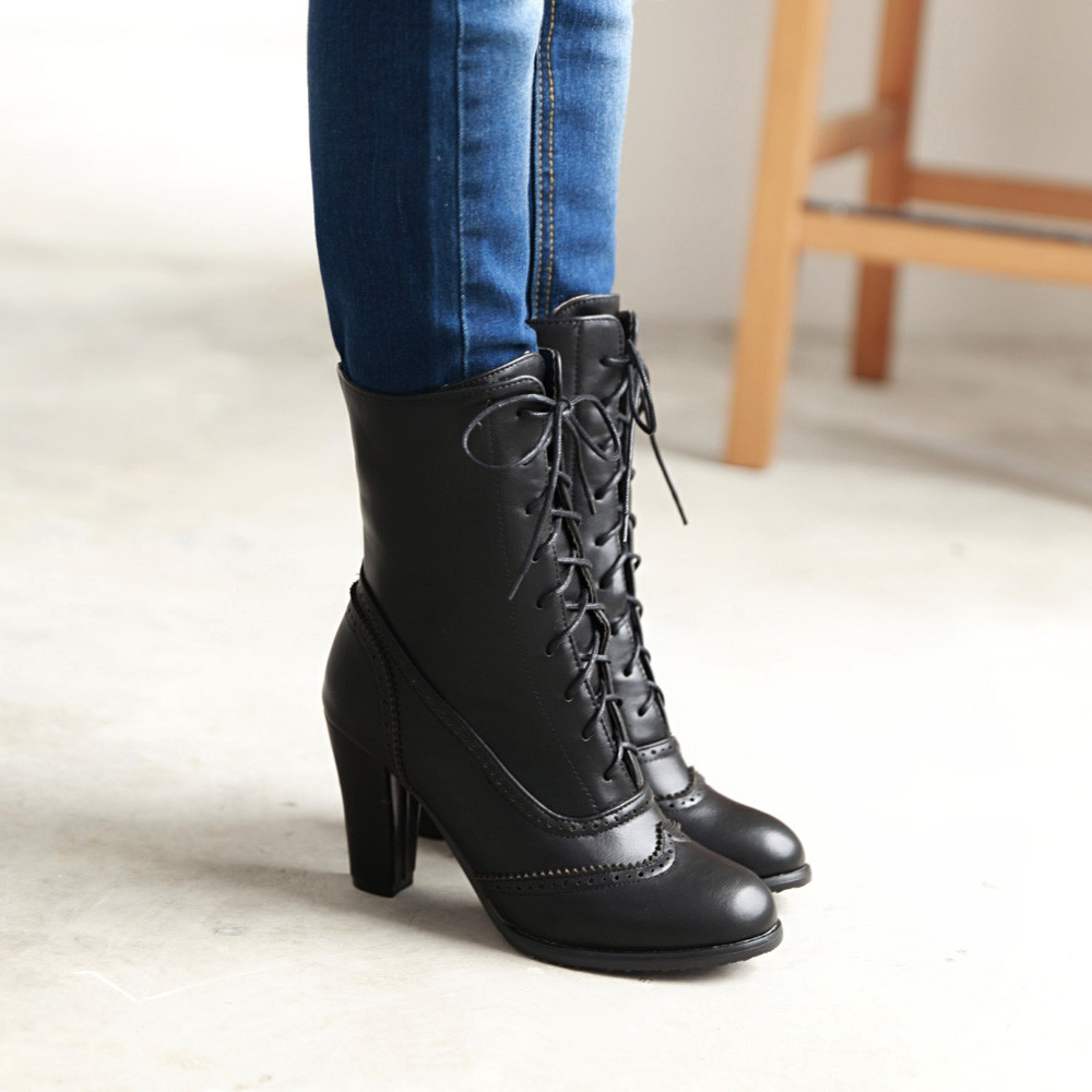 Image 3 - Women Boots Sexy Lace up Boots Ladies Classic Pointed Leather Lace Up High Heeled Boots Middle Tube Boots Square Heel ShoesAnkle Boots   -