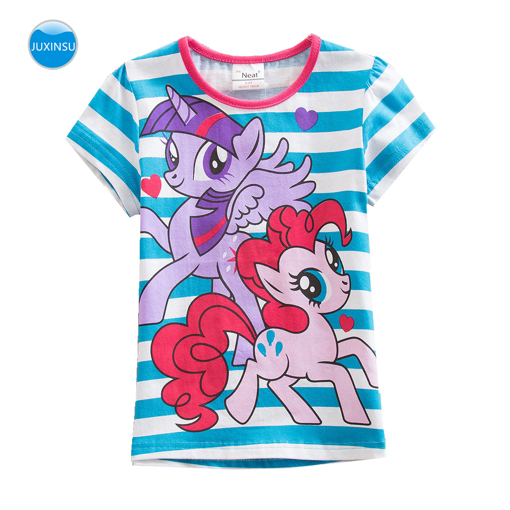 JUXINSU My Baby Summer Cotton Girls Stripe Short Sleeve T-shirt Little Pony Cartoon print Girl Tshirt Tees for 1-8 Years