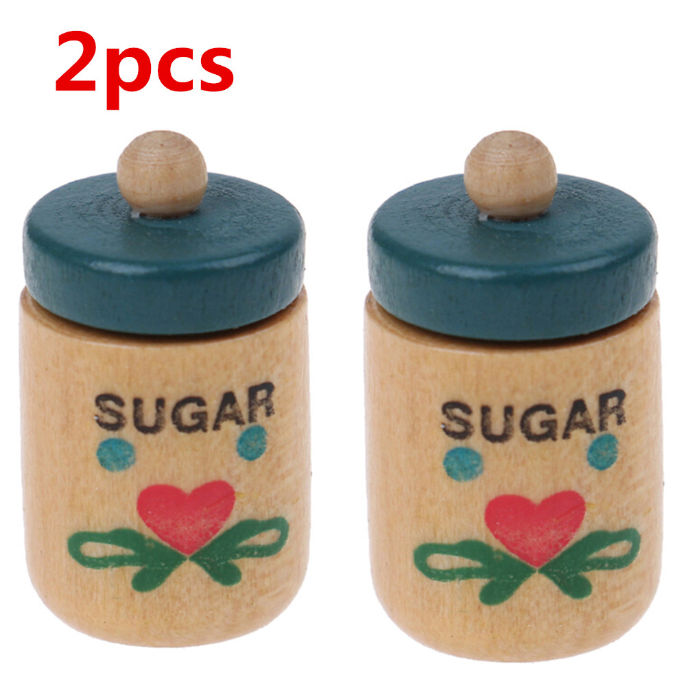 2Pcs 1:12 Dollhouse Simulation Wood Seasoning Pot Salt Pot+Sugar Pot Doll House Kitchen Toy Baby DIY Toys