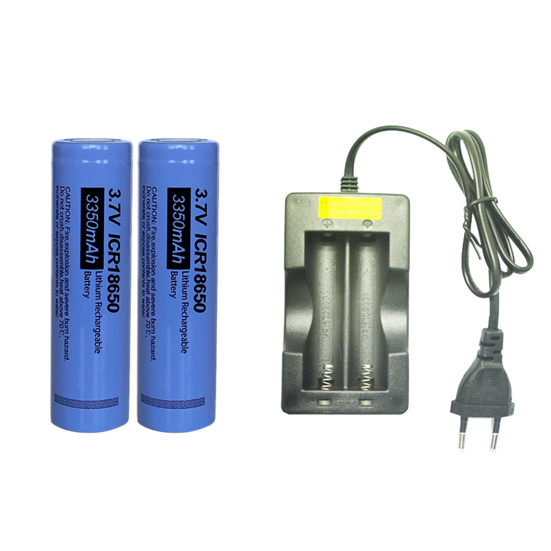 2 uds * PKCELL ICR18650 baterías recargables Lithum 3350mAh capacidad Real 3,7 V + 1 Uds cargador de batería para 18650 baterías