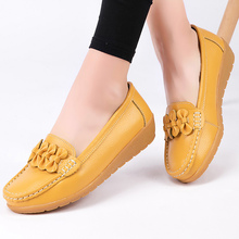 Genuine Leather Shoes Women Flats Loafers Big Size 44 Butterfly-knot Wedge TPR 10 Colors Boat Shoes Increasing Ballet shoes 2020