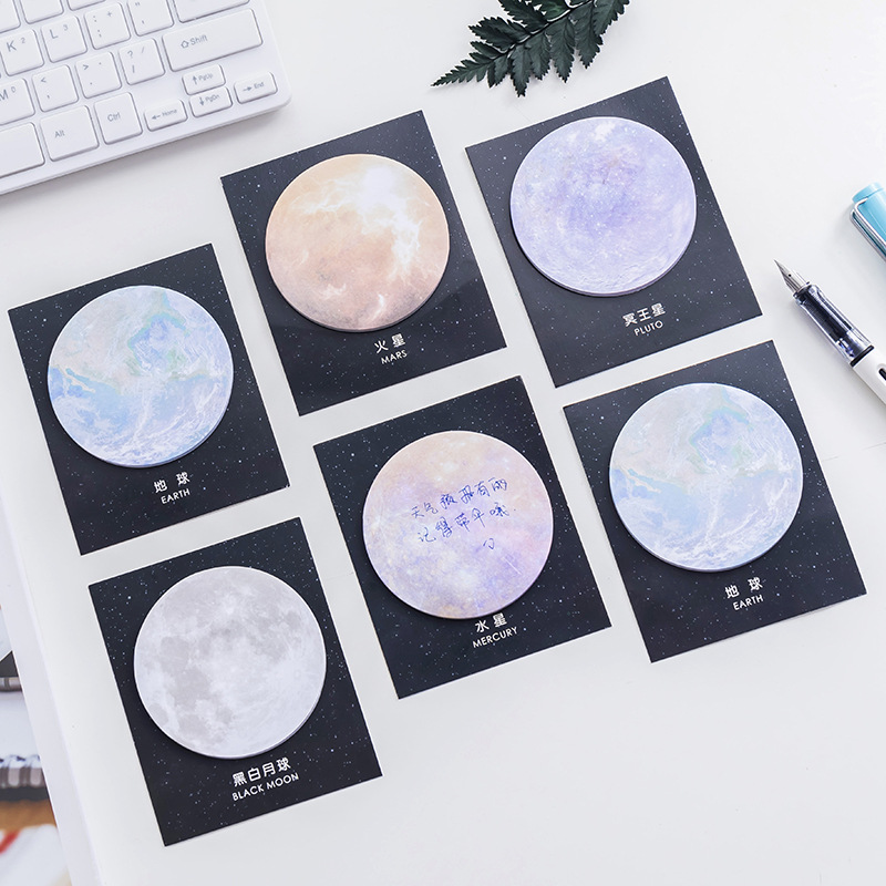 Mohamm Creative Planet Series Convenience Sticky Notes Memo Pad Earth Moon Circular Tearable Notebook Office Notes