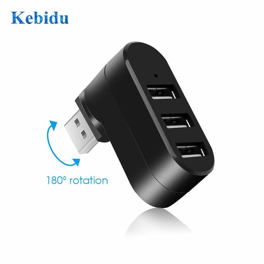 KEBIDU высокоскоростной 3 порта USB 2,0 концентратор Разветвитель USB концентратор Мини адаптер вращения концентратор для компьютер, ноутбук, лепт...
