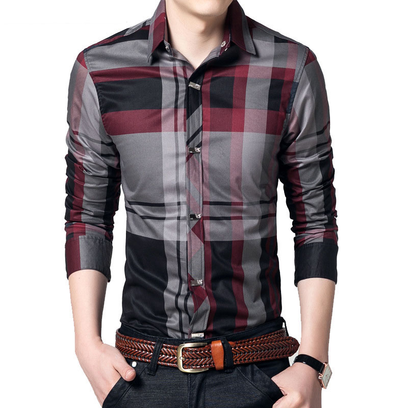 Men Spring Summer New Long-sleeved Plaid Shirt Cotton Business Casual Korean Version Of The Shirt Slim Printed Shirt Plus Size