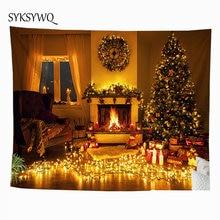 Домашний декор, Рождественский гобелен с изображением деревьев, настенный тканевый камин, muur tapijt, Прямая поставка, ковер
