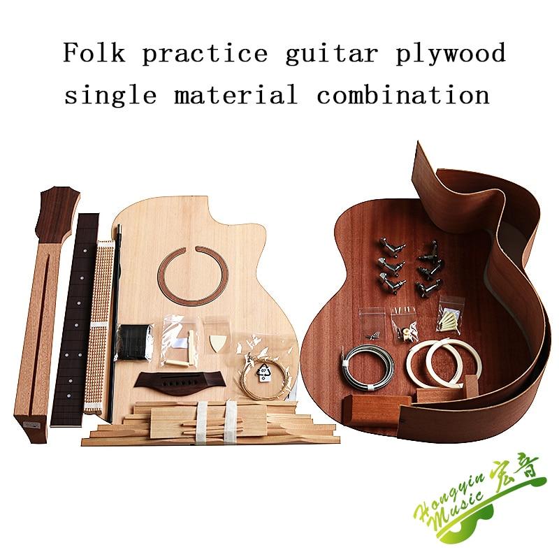 41 Inch GAC Cutaway Guitar DIY Folk Ballad Single Guitar Accessories Package  Spruce Solid Wood Side Back Plywood