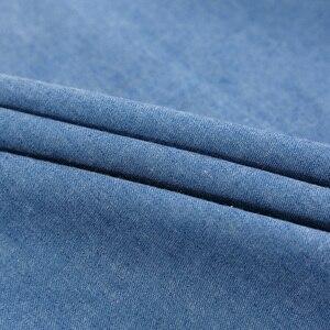 Летняя Мягкая тонкая однотонная хлопковая джинсовая ткань для шитья одежды рубашки Юбки
