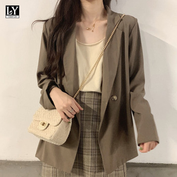 LY VAREY LIN New Autumn Women Casual Solid Suit Jackets Notched Collar Long Sleeve Loose Outerwear Ladies Button Blazers 1