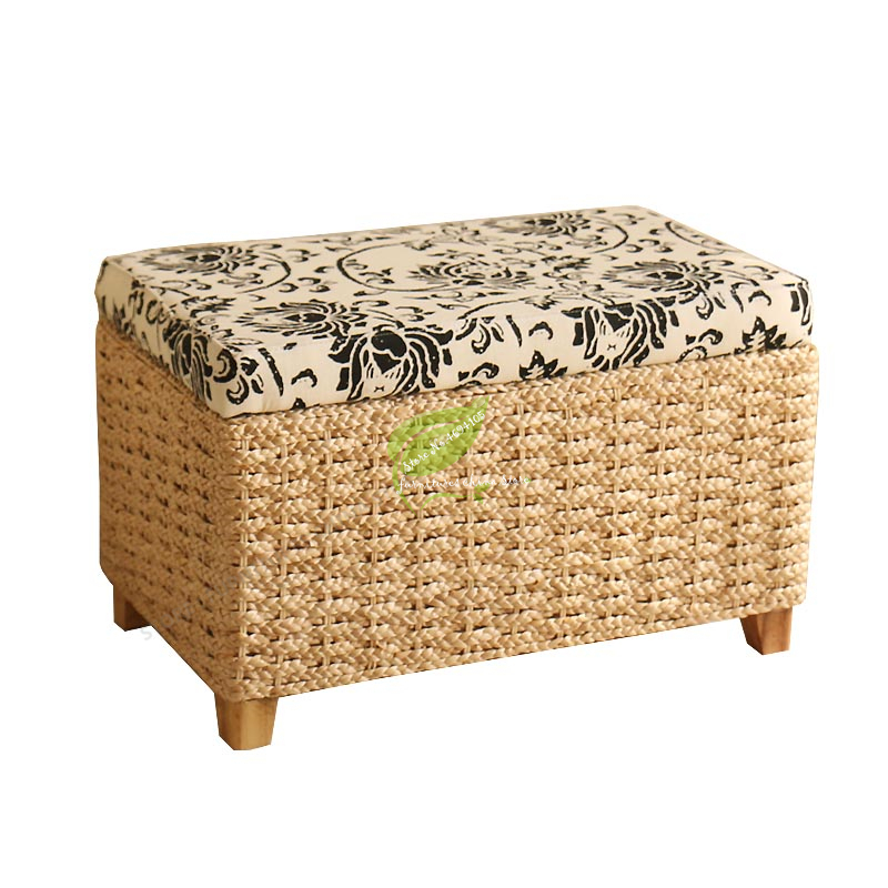 Rattan Stool Storage Multi Function Solid Wood Frame Can Sit People Rattan Wicker Furniture Environmenl Protection Bearing 150KG