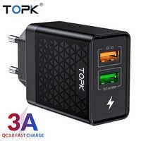 TOPK B254Q Quick Charge 3.0 Dual USB Adaptador de Carregador de Parede de Viagem DA UE QC3.0 Rápido Carregador de Telefone para o iphone Samsung Xiaomi