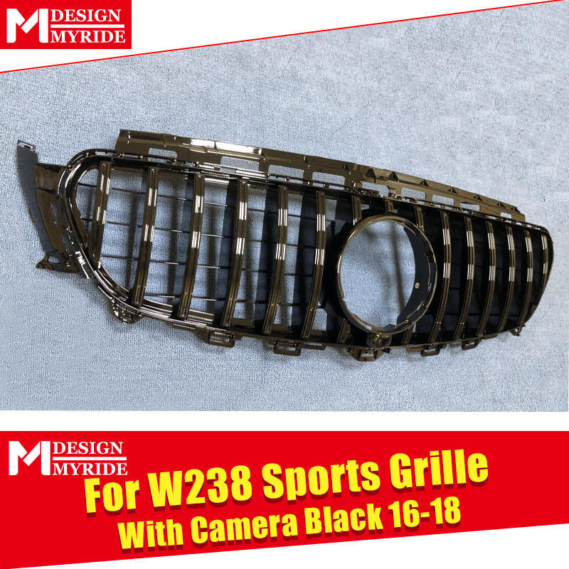 GT R Style Grille W238 Sport ABS gloss Black Fit For Mercedes E class E200 E250 E300 E350 E400 Look grills Without sign 2016 in in Racing Grills from Automobiles Motorcycles
