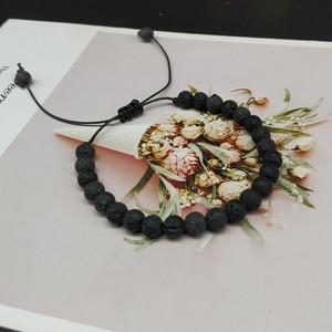 Image 2 - Мужской браслет с натуральными бусинами, 6 мм, черный белый браслет для медитации, Женский молитвенный браслет, Ювелирное Украшение для йоги