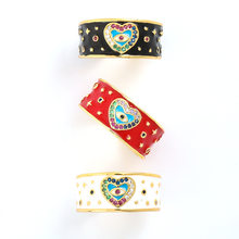 Fashion Creative Drop Oil Heart-shaped Eyes Copper Color Zircon Couple Rings Women and Men Popular Opening Adjustable Ring