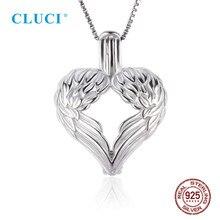 CLUCI 3 stücke Silber 925 Engel Flügel Herz Geformt Charme Anhänger Frauen Schmuck 925 Sterling Silber Liebe Perle Anhänger Medaillon SC232SB