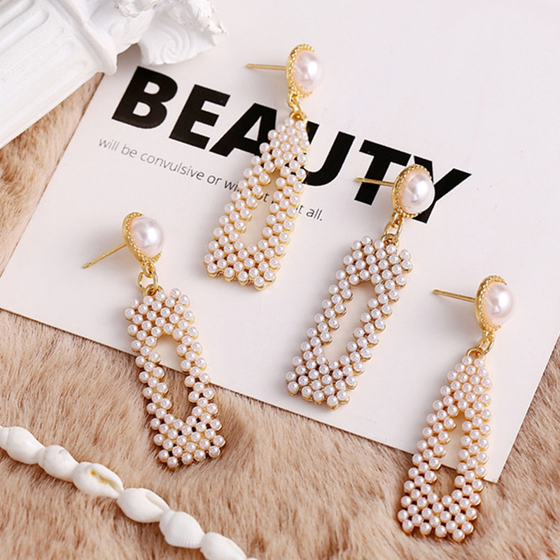 17KM Dangle Earring Fashion Jewelry Korean Geometric Simulation-Pearl-Statement Women