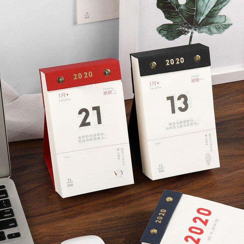 2020 Mini calendario de escritorio diario planificador diario agenda anual organizador papel DIY