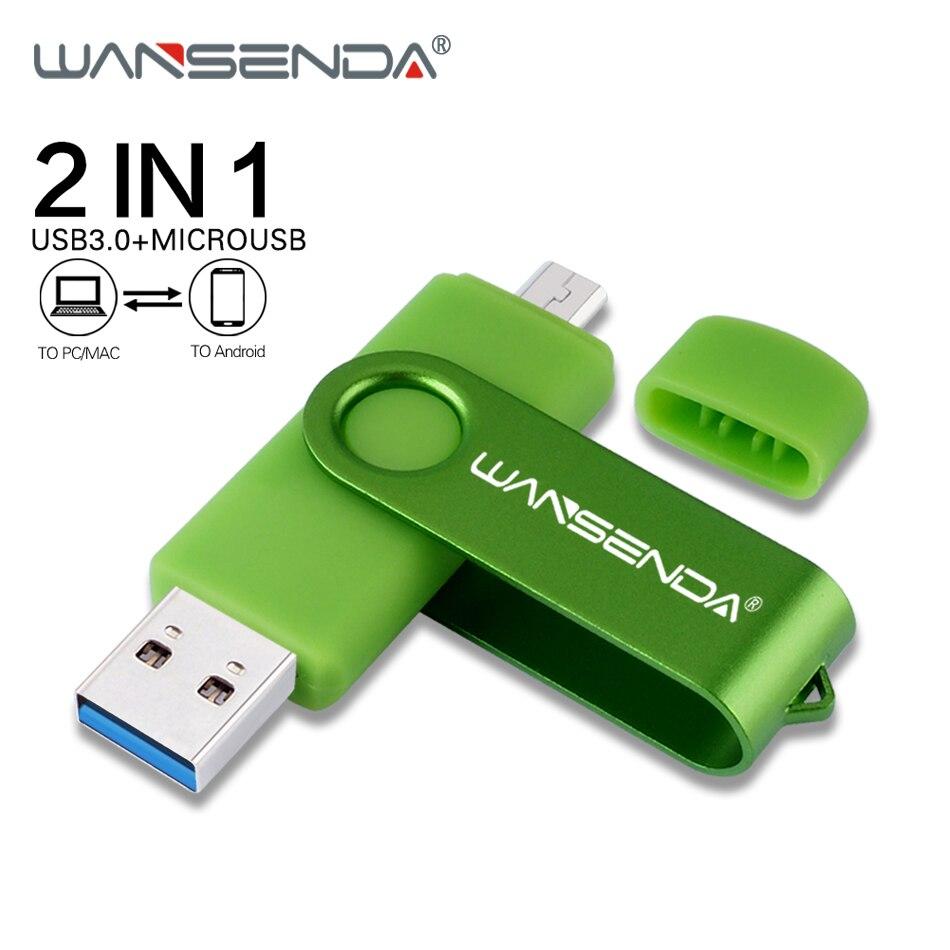 WANSENDA OTG USB Flash Drive Pen Drive 2 In 1 USB3.0 & Micro Usb Stick 16GB 32GB 64GB 128GB 256GB External Storage Pendrive