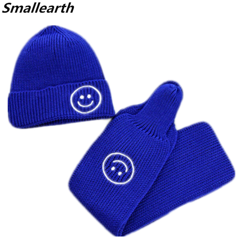 New Autumn Winter Smile Baby Knitted Hat Set For Boys Girl Outdoor Warm Children Beanies Hat Scarf Set Cotton Kids Thick Caps