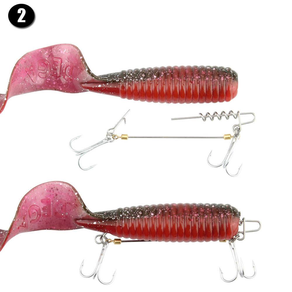 Rosewood 20 ชิ้น/ล็อตนุ่มเหยื่อตกปลา Connector Worms Lure ฤดูใบไม้ผลิล็อคหมุดคงที่ LATCH เข็มเหยื่อตกปลาอุปกรณ์เสริม