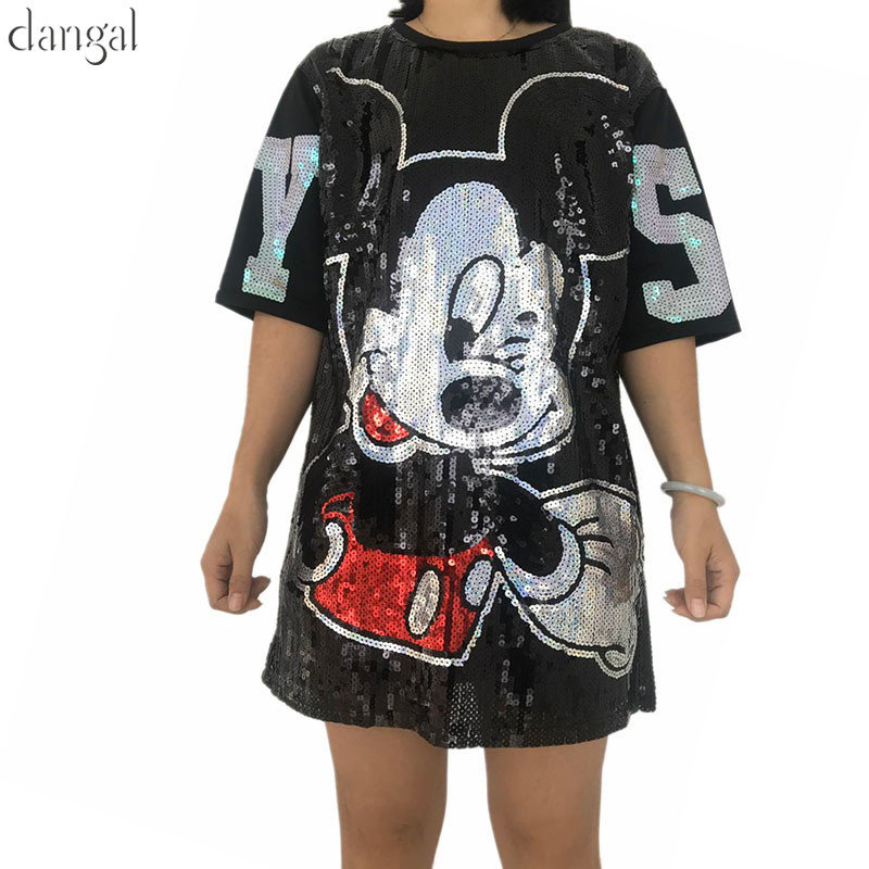 Cool Hip Hop Loose Cute Miki Mouse Women Long Sequined T-shirt Shiny Tee O-Neck Half Sleeve Tops For Stage Dance Club Party(China)