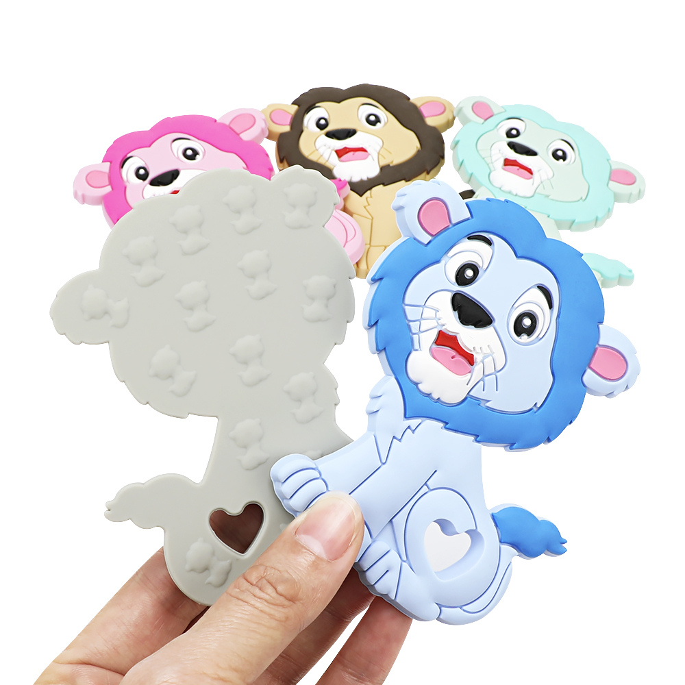 TYRY.HU 10PCS Silicone Baby Teethers Lion Cartoon Teethig Toys Chewable Nursing Tiny Rod food grade Teething Pendant Baby Toys